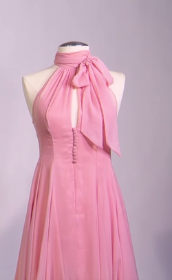 Custom Made Pink Chiffon Halter Dress by Mark Bridges (Costume Designer) in Fifty Shades of Grey