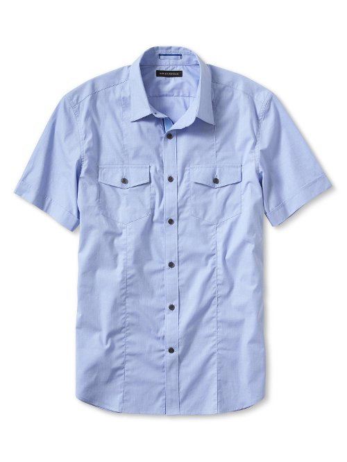 Slim-Fit Short-Sleeve Utility Shirt by Banana Republic in Begin Again