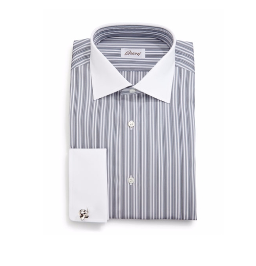 Contrast-Collar Multi-Stripe French-Cuff Dress Shirt by Stefano Ricci in Crazy, Stupid, Love.