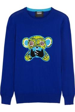 Speak No Evil Monkey Sequined Cotton Sweater by Markus Lupfer  in Pretty Little Liars