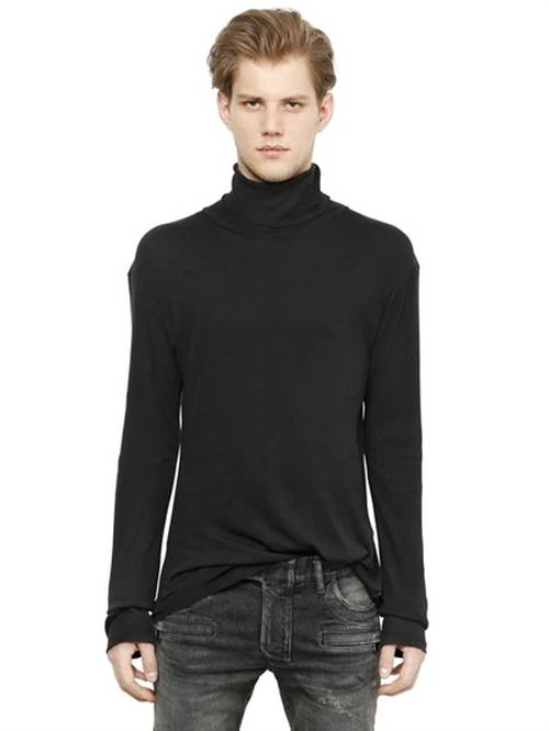 Turtleneck Ribbed Cotton T-Shirt by Balmain in Tomorrow Never Dies