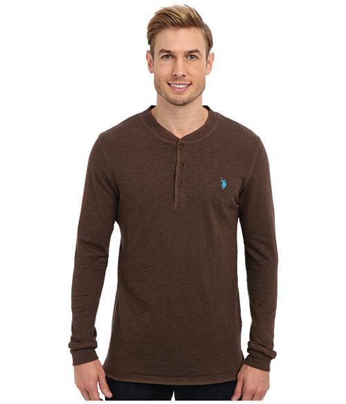 Long Sleeve Slub Henley Pullover Shirt by U.S. Polo Assn. in Chronicle