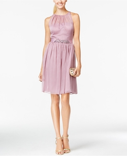Belted Chiffon Halter Dress by Adrianna Papell in The Mindy Project