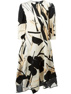 Floral Print Asymmetric Dress by Marni in Elementary