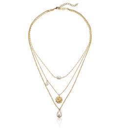 Three-in-One Gold-Plated and Faux-Pearl Strand Necklace by A.V. Max in Imaginary Mary