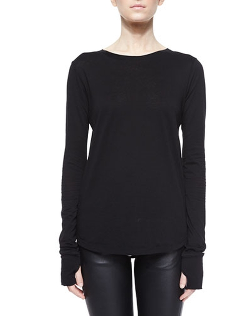Cotton-Cashmere Long-Sleeve Tee by Helmut Lang in Keeping Up With The Kardashians - Season 11 Episode 1
