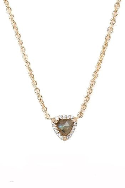 Laboradite Triangle Necklace by Rachael Ryen Jewelry in Knock Knock