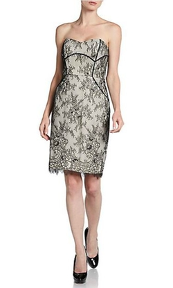 Strapless Lace Sheath Dress by Badgley Mischka in Empire