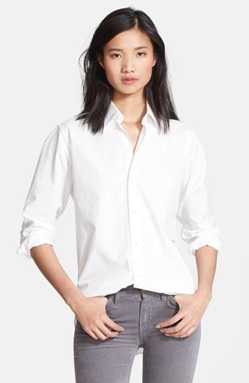 Button Down Cotton Shirt by Charlotte Gainsbourg For Current/Elliott in The Other Woman