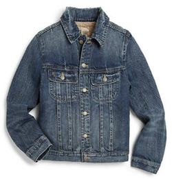 Faux Shearling-Lined Denim Trucker Jacket by Ralph Lauren in Midnight Special