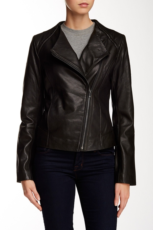 Collarless Leather Moto Jacket by 7 For All Mankind in Quantico - Season 1 Episode 1