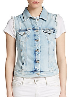 Jodi Frayed Denim Vest by Mavi Jeans in Empire