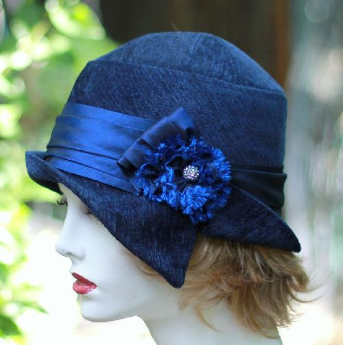 Millinery 20's Cloche Hat Fall Winter Season Midnight Blue by The Fitted Hat in The Great Gatsby