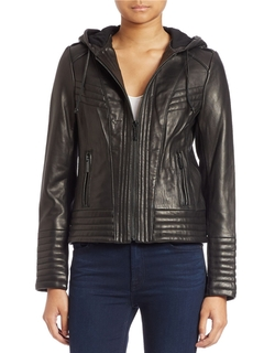 Hooded Leather Jacket by Michael Michael Kors  in Quantico