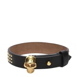 Studded Leather Wrap Skull Bracelet by Alexander McQueen in Rock The Kasbah