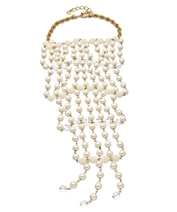 Gold Pearl And Crystal Sphere Large Bib Necklace by Carolee in Jem and the Holograms