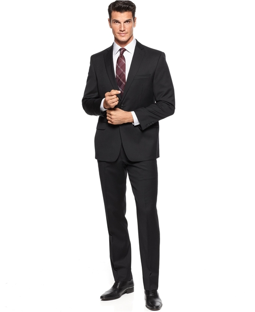 Black Solid Suit by Calvin Klein in Survivor