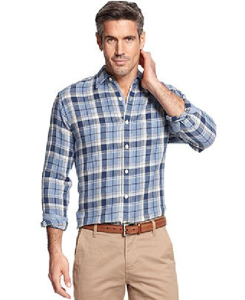 Long Sleeve Jefferson Plaid Shirt by Club Room in Oculus