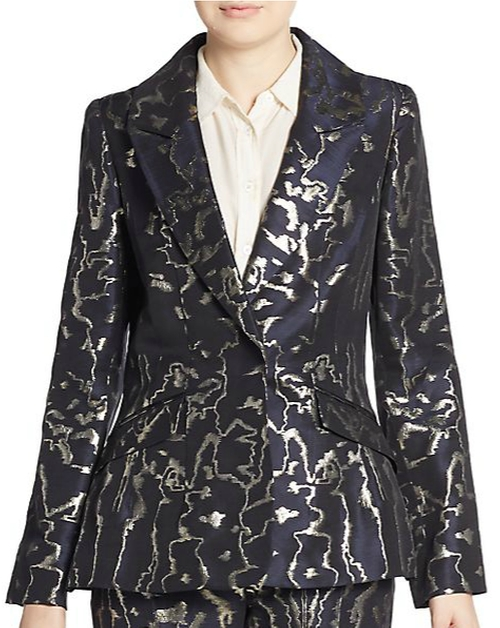 Metallic-Embroidered Blazer by Oscar De La Renta in The Good Wife - Season 7 Episode 14
