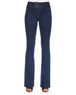 High-Waist Flared Denim Pants by Veronica Beard in The Walk