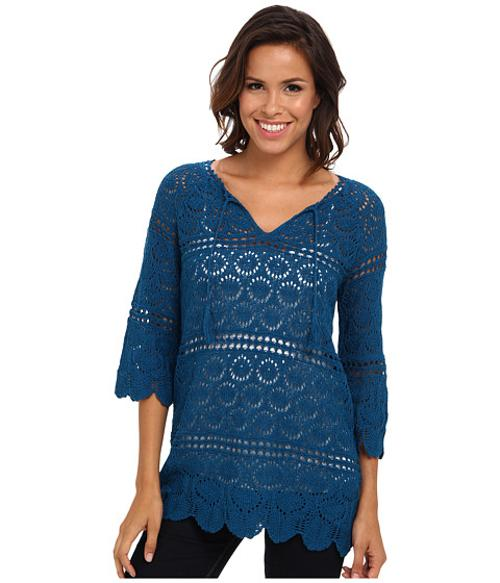 Crochet Sappire Tunic by Lucky Brand in Ouija