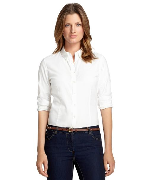 Tailored Fit Solid Oxford Dress Shirt by Brooks Brothers in Sabotage