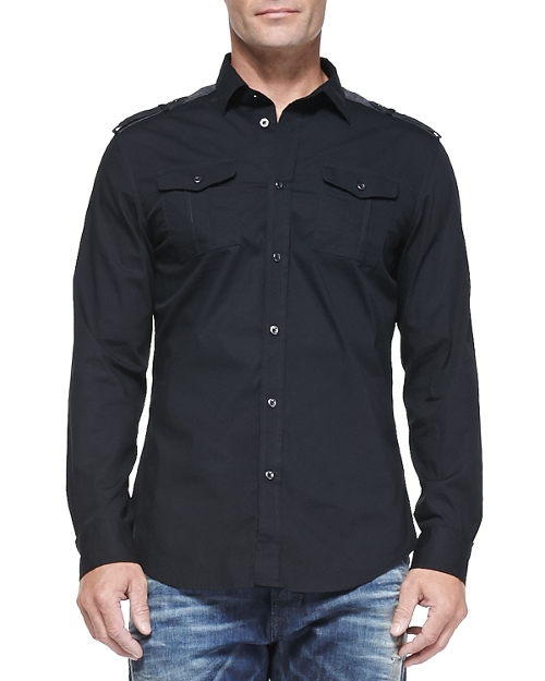 Spread Collar Button-Down Shirt by Diesel in Poltergeist