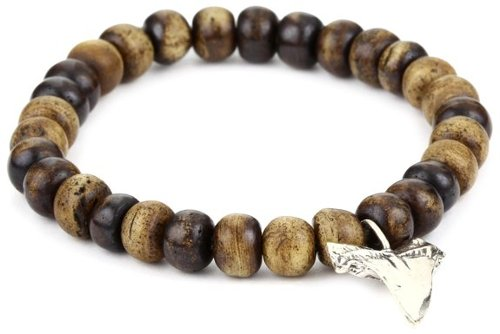 Sterling Silver Shark Tooth On Light Brown Yak Bone Bracelet by M.Cohen Handmade Designs in The Gambler