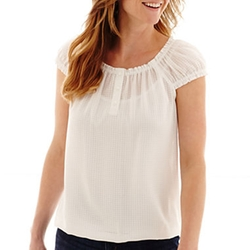 Cap-Sleeve Peasant Blouse by Liz Claiborne in Wanted