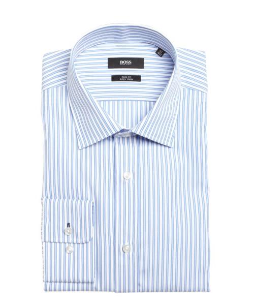 Pastel Blue And White Striped Cotton Dress Shirt by HUGO BOSS in Million Dollar Arm