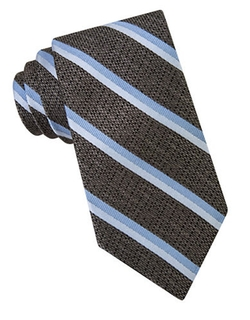 Textured Striped Silk Tie by Michael Kors in Elementary