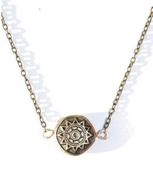 Bronzed Sun Necklace by Indie Twenty Jewelry in Pretty Little Liars - Season 6 Episode 7