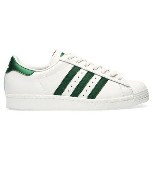 White And Green Superstar 80s Deluxe Sneakers by Adidas in Begin Again