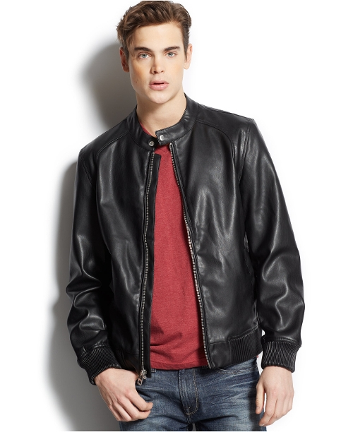 Ribbed-Trim Faux-Leather Moto Jacket by Guess in Trainwreck