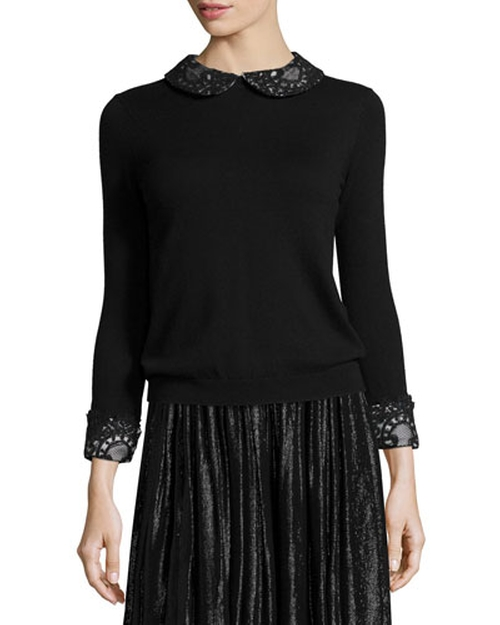 Lynda Wool Lace-Trim Pullover Sweater by Alice + Olivia	 in Love Actually