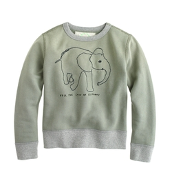 Kids' Wildlife Trust Elephant Sweatshirt by J.Crew in Black-ish