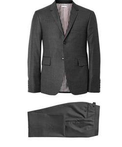 Grey Wool Suit by Thom Browne in Suits