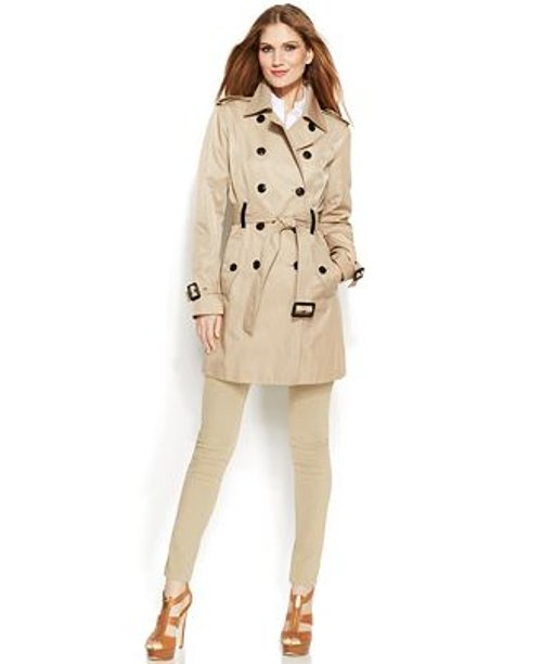 Faux-Leather-Trim Trench Coat by Michael By Michael Kors in That Awkward Moment