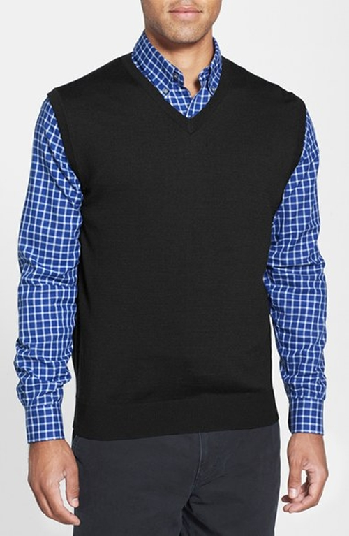 Douglas Merino Wool Blend V-Neck Sweater Vest by Cutter & Buck in The Best of Me