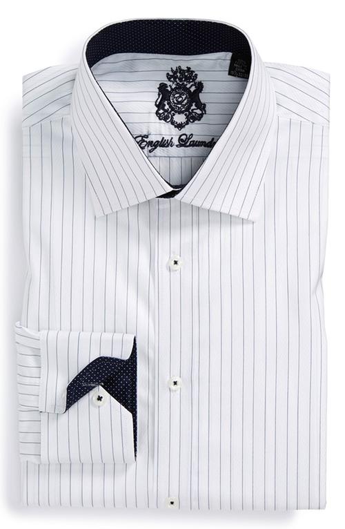 Trim Fit Stripe Dress Shirt by English Laundry in Boyhood
