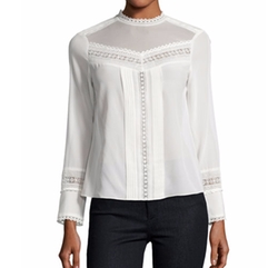 Lace-Trim Long-Sleeve Silk Top by Rebecca Taylor in Collide