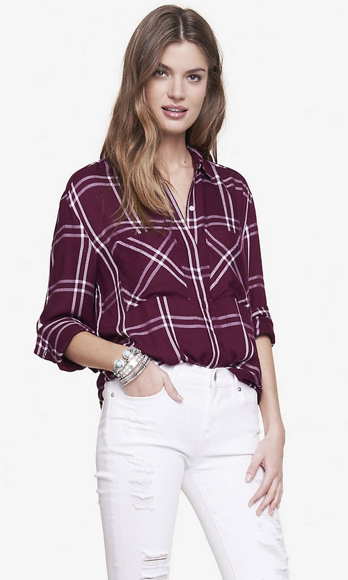 Windowpane Plaid Shirt by Express in Rosewood