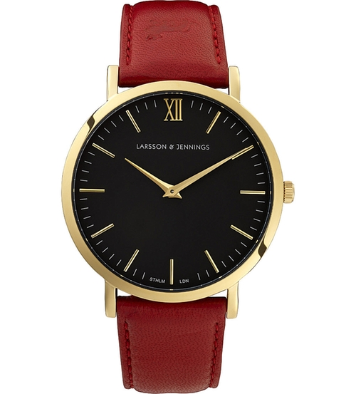 Lader Red Gold-Plated And Leather Watch by Larsson & Jennings in Rosewood - Season 1 Episode 5