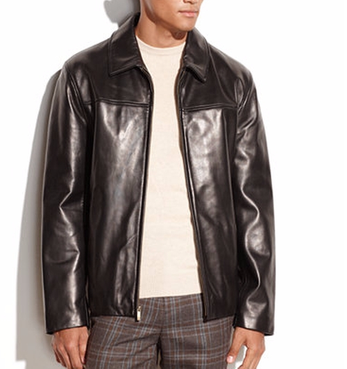 Smooth Leather Moto Jacket by Cole Haan in Mechanic: Resurrection