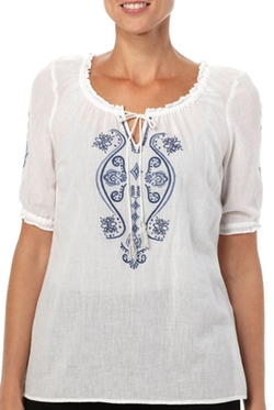 Embroidery Peasant Tie Front Top by Gloria Vanderbilt in Mamma Mia!