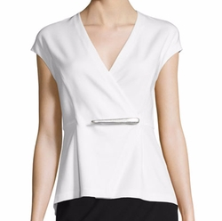 Cap-Sleeve Peplum Jacket-Style Wrap Top by Donna Karan in Grace and Frankie