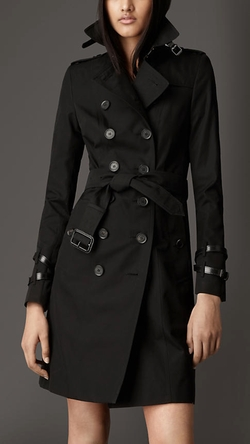 Long Leather Detail Gabardine Trench Coat by Burberry in Gone Girl
