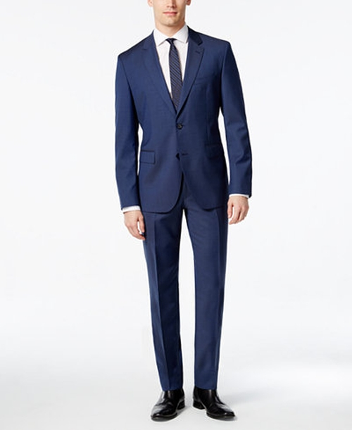 Extra Slim-Fit Blue Tic-Weave Suit by Hugo Boss in Hands of Stone