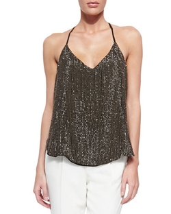 Haute Hippie Sequined T-Back Mesh Top