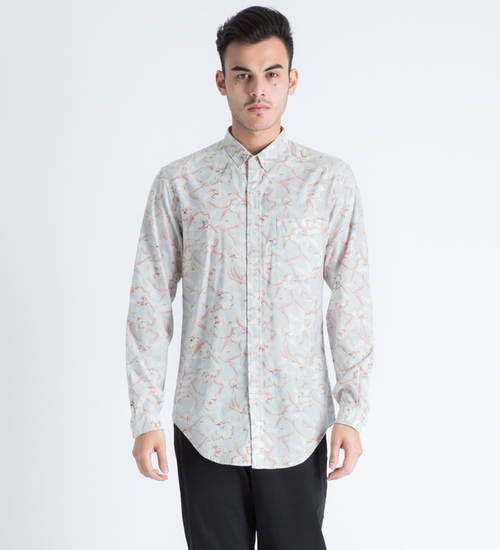 Light Grey Floral Button Down Shirt by Shades Of Grey By Micah Cohen in Knocked Up